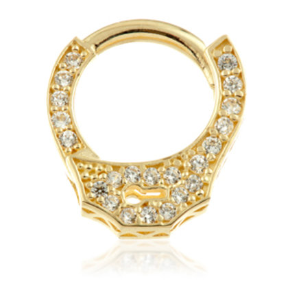 14ct Gold Jewelled Handcuff Hinge Ring