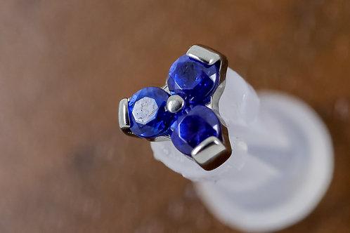 Industrial Strength 16g Threaded 'Ménage à Trois' Swarovski - Sapphire Blue