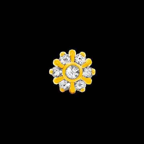 14k Gold 7 Gem Radiant Snowflake