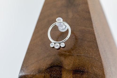 1.2 (16g) Clear Crystal CZ Triple Gem Hinged Segment Ring