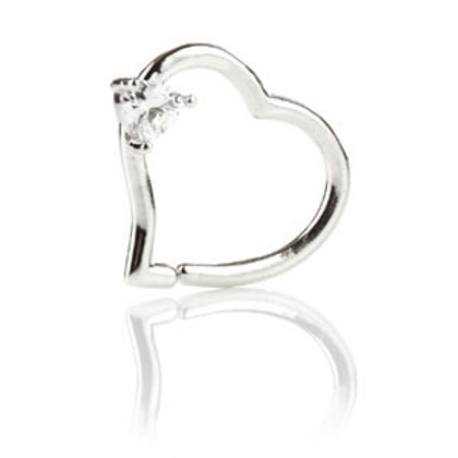 14ct White Gold Gem Heart Ring