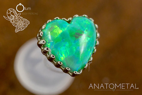 Anatometal 18k White Gold Heart with Synthetic Lime Green Opal