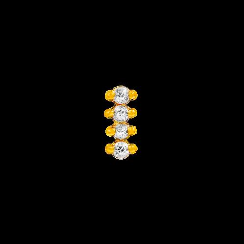14k Gold 4 Swarovski Gemstone Bar