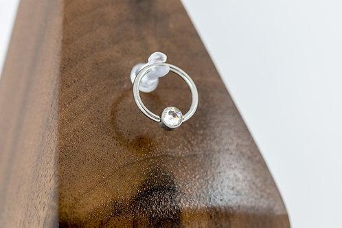 1.2 (16g) Clear Bezel Set CZ Bead Captive Ring