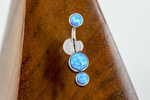 Industrial Strength 'Gemini' Cabochon Opal Navel Curve - Capri Blue