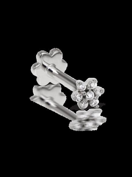 14k Gold 3mm Diamond Flower Threaded Stud