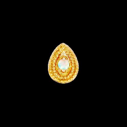 14k Gold Pear Opal Double Millgrain