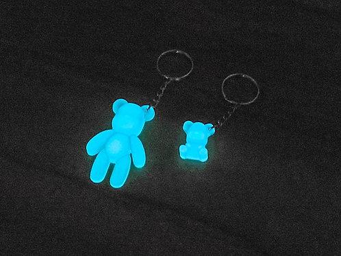 Matching Set Aqua Glow in the Dark Teddy-bear Key-chains