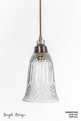 מנורת תלייה זכוכית כבל בד - שקמה