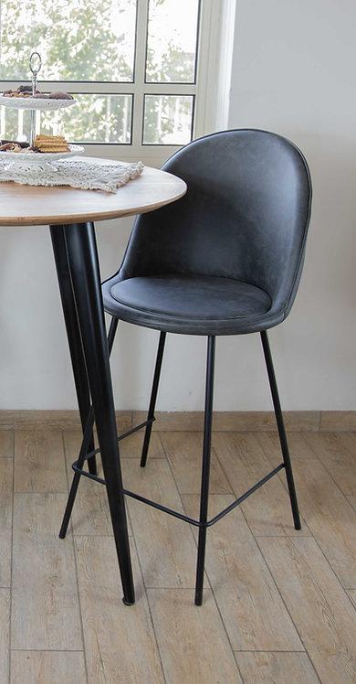כיסא בר בלגיה בד רחיץ אפור כהה