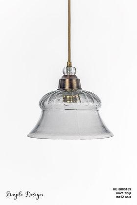 מנורת תלייה זכוכית כבל בד - שיבולת