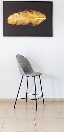 כיסא בר בלגיה בד רחיץ אפור בהיר