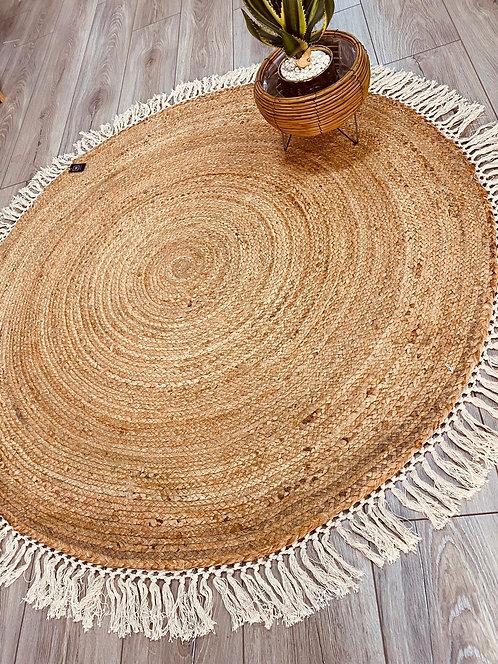 שטיח חבל פרנזים לבנים עגול