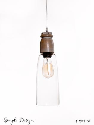 מנורת תלייה זכוכית כבל בד - שירה