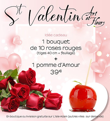 Pack 1 : 10 roses rouges + 1 pomme d'amour
