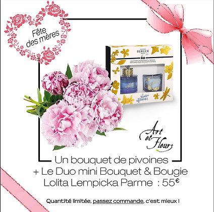Pack 2 : 1 bouquet de pivoines + Duo Lolita Lempicka parme