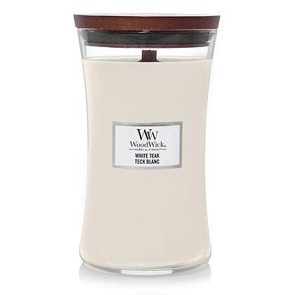 YANKEE CANDLE / WOODWICK - Grande jarre Teck blanc