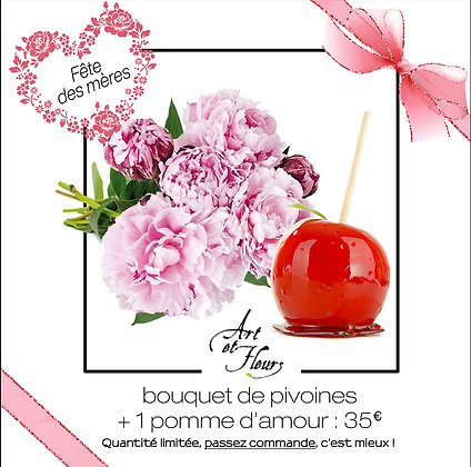 Pack 1 : 1 bouquet de pivoines + 1 pomme d'amour
