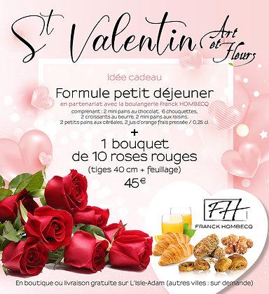 Pack 3 : 10 roses rouges + 1 formule petit déjeuner