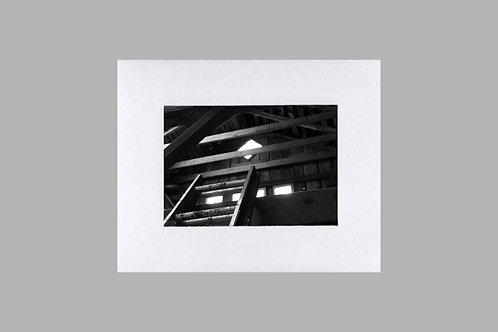 20 x 24 Matted Print - Black & White Barn Ladder Loft
