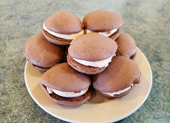 Chocolate Whoopie Pies with Peanut Butter Filling (one dozen)