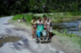 Madagascar 20a, water carriers, river up