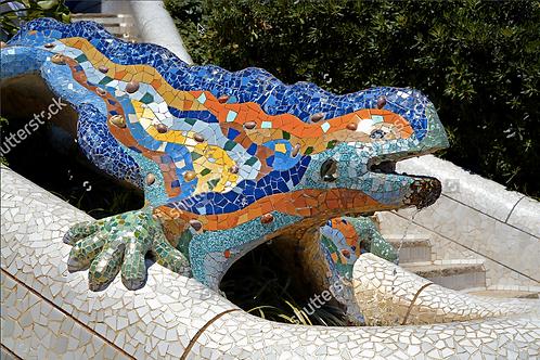 Lizard fountain 1, Barcelona, Spain
