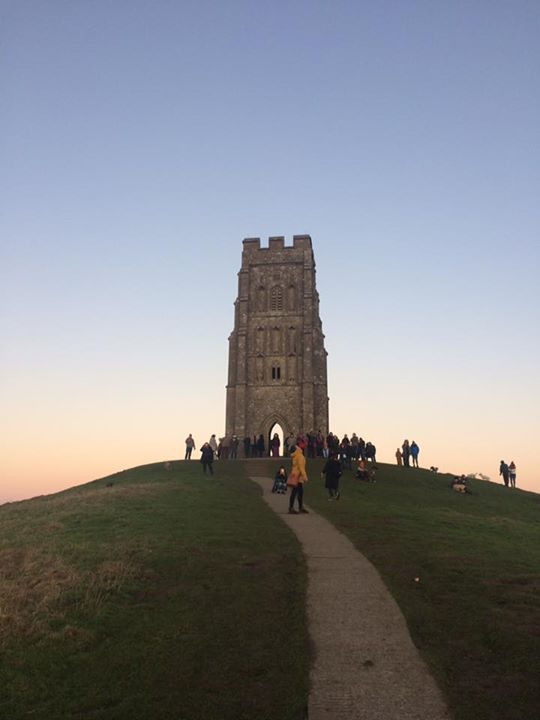 St Michaels tower Glastonbury Tor Sunset