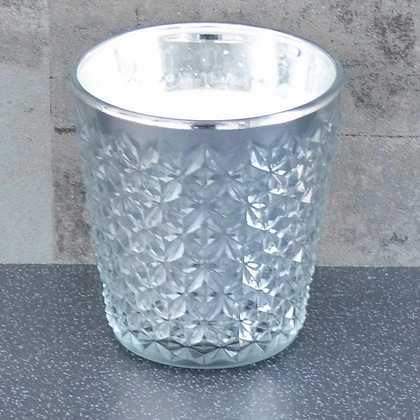 Silver Embossed Glass Scented Candle