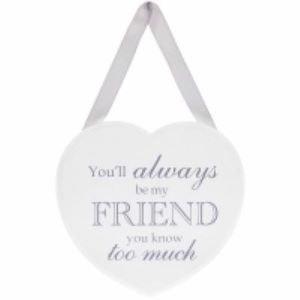 White Friend Heart Plaque
