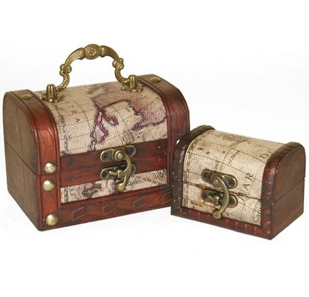 Set of 2 Map Chest Trinket Boxes