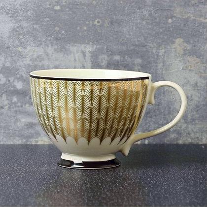 Deco Glam Feather Print Footed Mug