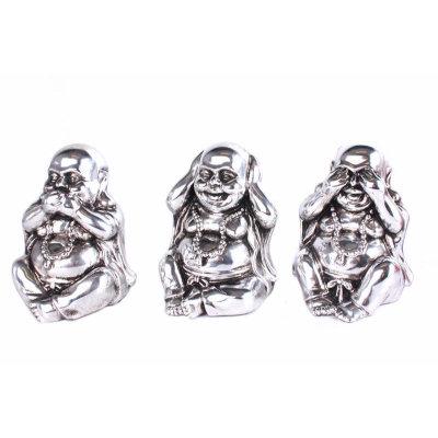 Silver Sitting Buddha Set