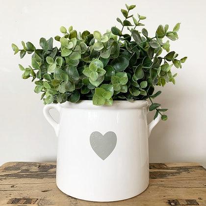 White & Grey Ceramic Pot