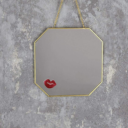 Lips Gold Hanging Mirror