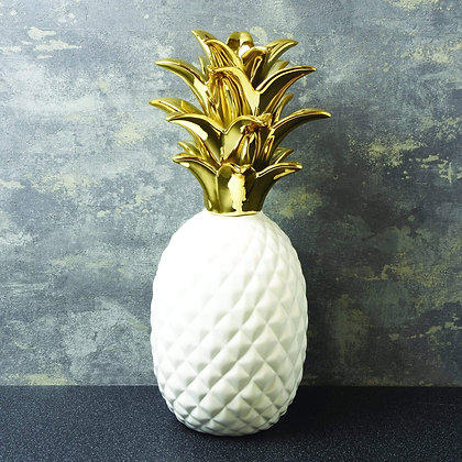 White and Gold Pineapple Ornament
