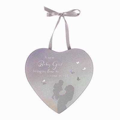 Heart Mirrored Baby Girl Plaque