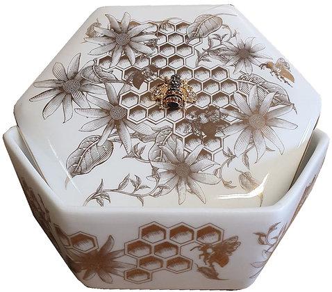 Golden Bees Ceramic Trinket Box