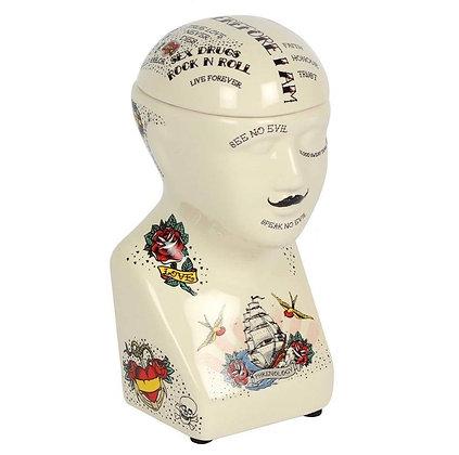Phrenology Head Storage Jar