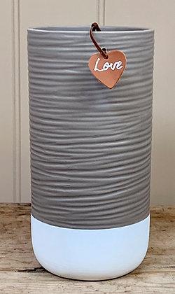 Two Tone Ceramic Ridge Pot/Vase 22cm