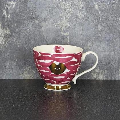 Lips Pink & Gold Footed Mug