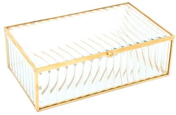 Ridged Glass Gold Trinket Box
