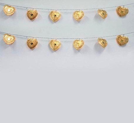 Gold Heart LED String Lights