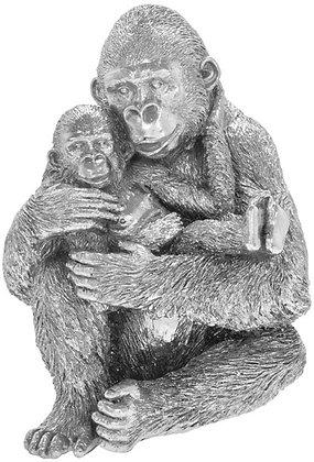 Silver Art Gorilla with Baby Ornament