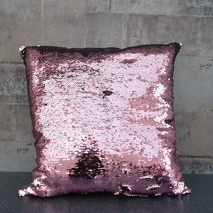 Sequin Covered Cushion (Pink & Silver)