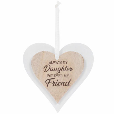 Double Heart Daughter Hanging Plaque