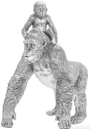 Silver Art Gorilla and Baby Ornament
