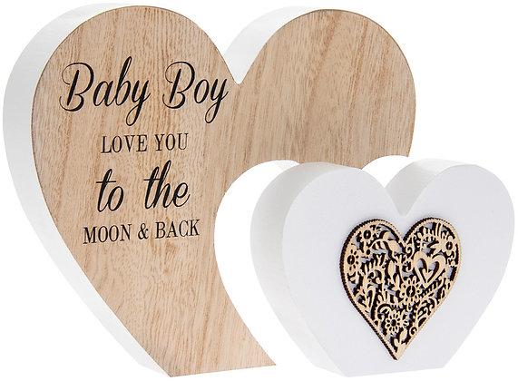 Double Heart Baby Boy/Girl Plaque