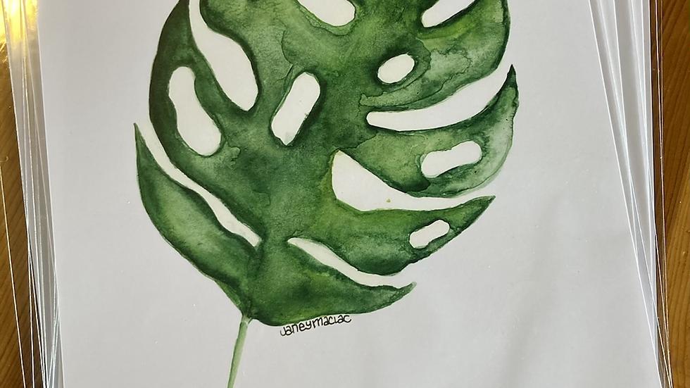 Monstera/pilea watercolor print