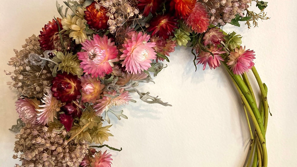 Pretty in pink dried wreath